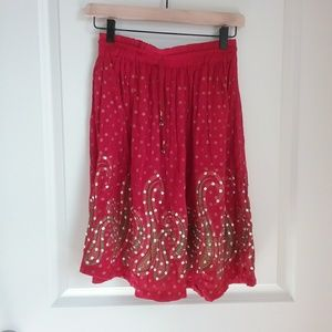 Red Sequins Bollywood Crinkle Circle Women's Skirt
